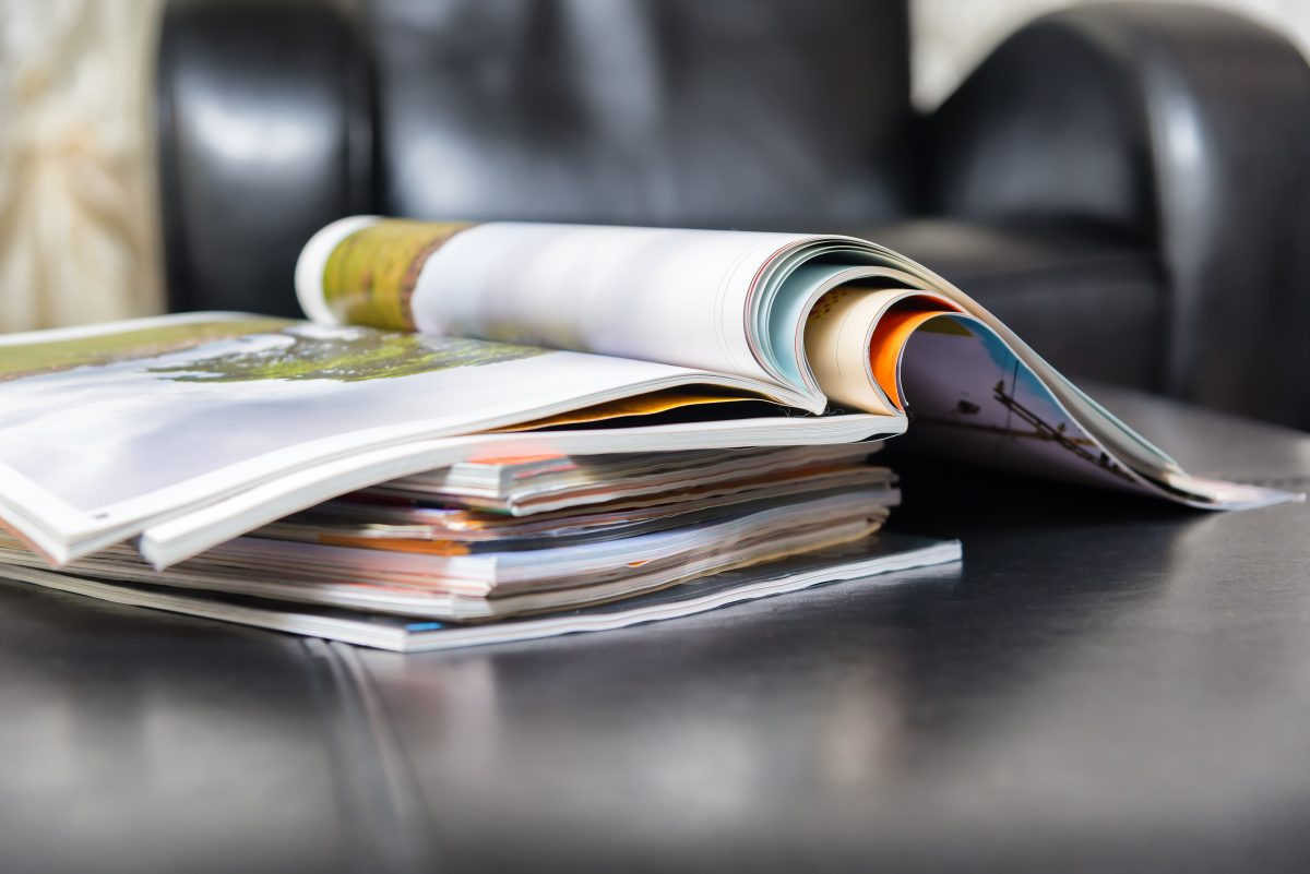 Magazines spread out showing campaign
