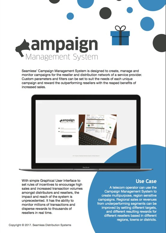 Seamless Campaign Managament System brochure screenshot