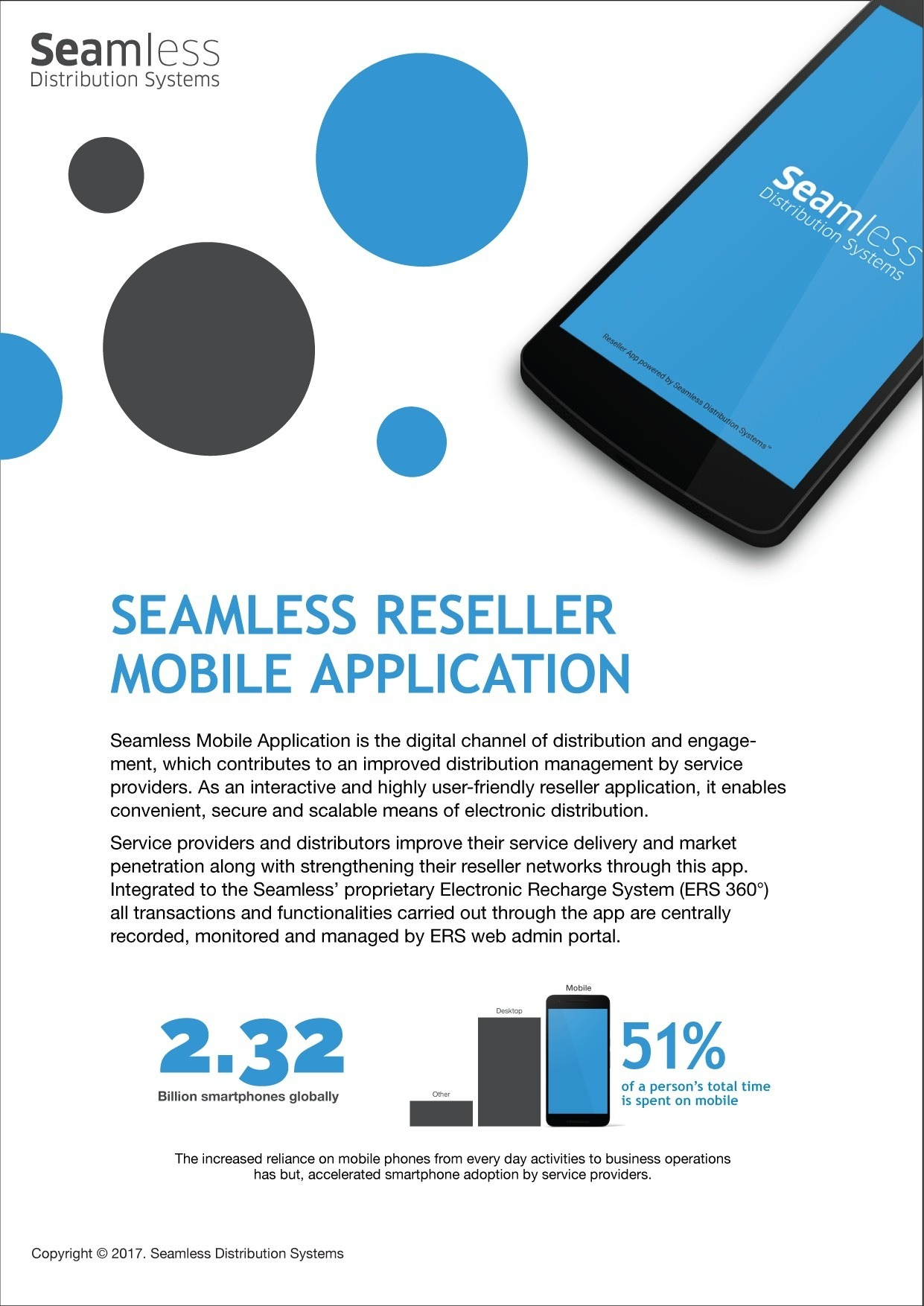 Seamless reseller mobile application brochure screenshot