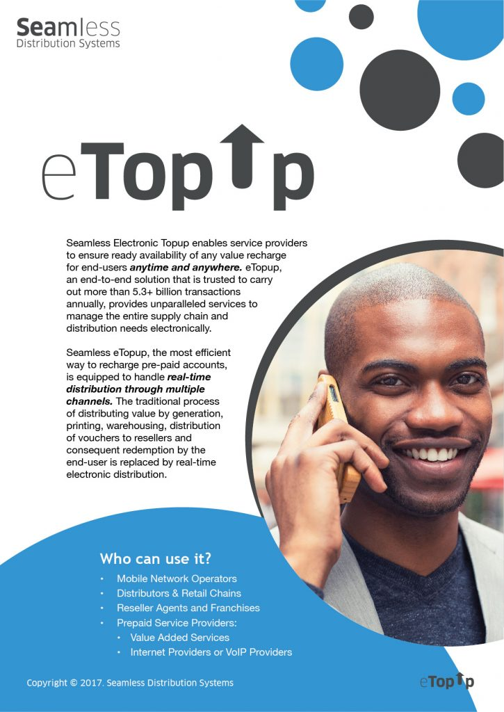 Seamless Electronic Topup brochure screenshot